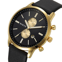 NORTH Quartz Watches Men 30M Waterproof Male Wristwatch Fashion Casual Genuine Leather Strap 2016 Luxury Men
