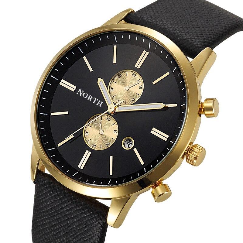 NORTH Luxus Quarz Männer Uhren 30 Mt Wasserdichte Männliche Business Armbanduhr Mode Casual Lederarmband männer Kleid-uhr