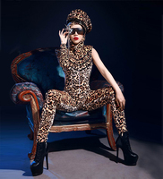 Female Singer Ds Costume Dj Sexy bodysuit Popular fashion stage costumes Hat + leopard grain conjoined straitjacket