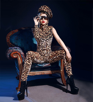 цена GAGA sexy topless leopard print jumpsuit party nightclub bar concert DJ singer/dancer costume онлайн в 2017 году