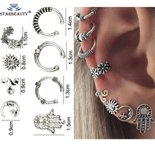 8Pcs/Lot Fake Ear Piercing Retro Silver Stainless Steel Clip