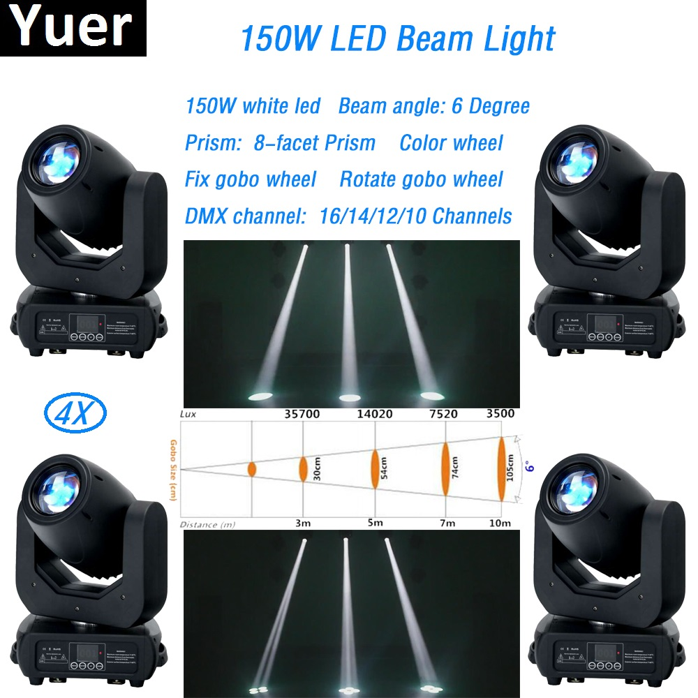 4Pcs/Lot led beam light moving head 150w dmx512 led dj light ZOOM solor light wash led par stage light LCD display led spot