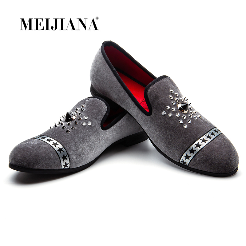 MEIJIANA New Fashion Brand Loafers Men Velvet Dress Shoes Hot Drilling Handmade Luxurious Flats Men's Classic Loafers
