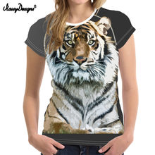 NoisyDesigns Mode Frauen Sommer Grundlegende T-shirt Cool 3D Tiger Lion tier Frau Tees Shirts Für Jugendlich Mädchen Frauen Freizeithemd Top(China)