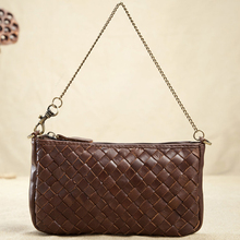 Casual Clutch Handmade bag first layer of cow leather women woven small bag vintage knitting mini single shoulder bags WN024