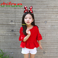 2016 New Summer Spring Girls Tees Clothes Half Sleeve O-neck Pullover Red T-shirt Ruffles 3-9 Cute Girls Kids Clothes
