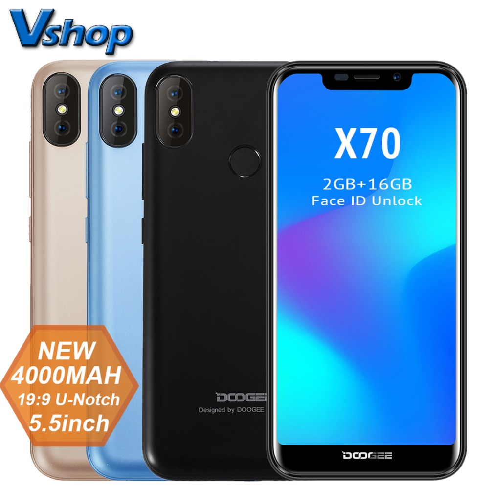DOOGEE X70 3G WCDMA Mobiele Telefoon Android 8.1 2GB RAM 16GB ROM Quad Core Smartphone 4000mAh batterij Gezicht ID 5.5 inch Mobiele telefoon-in Mobiele Telefoons van Mobiele telefoons & telecommunicatie op AliExpress - 11.11_Dubbel 11Vrijgezellendag 1