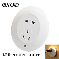 BSOD Novelty LED Small Night Light Lamp With Power Plug For Adapter Warm White Sensor Atmosphere