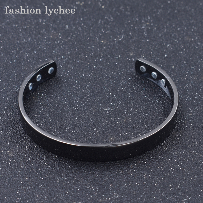 fashion lychee New Arrival Magnetic Health Care <font><b>Bracelet</b></font> Rose Gold Black Copper Bangle <font><b>Unisex</b></font> Jewelry Gift image