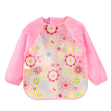 DreamShining Cartoon Baby Bibs Colorful Long Sleeve Apron Waterproof Toddler Feeding Bibs Burp Cloths Children Painting Clothes