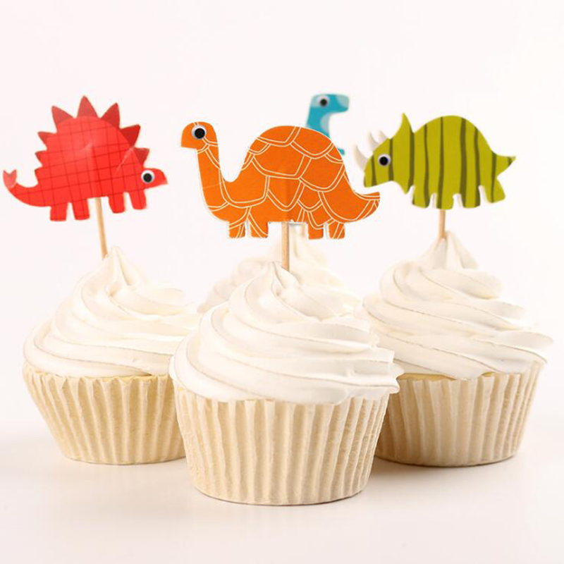 24pac/lot Dinosaur Party Cupcake Topper Happy Birthday Party Baby Shower Children Party Decor Kids Cake Decor Supplies
