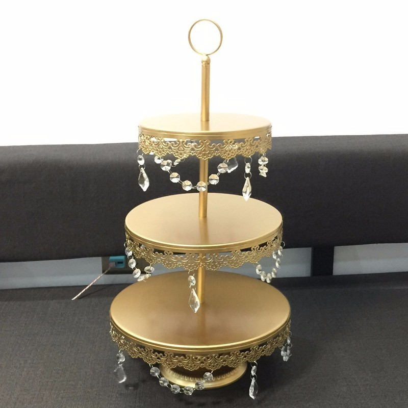 1 Pcs Gold 3 Tiers Wedding Party Tea Room Supplies Cake Stand Cake Tray Wedding Dessert