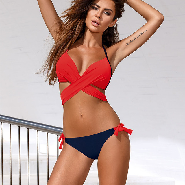 Ariel Sarah Cross Bandage Bikini 2018 Swimsuit Women Push Up Bikini Set Halter Plus Size Swimwear Patchwork Bathing Suit Q257