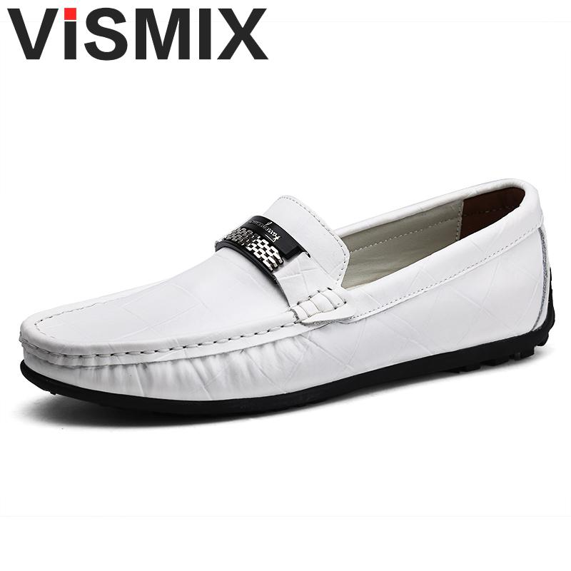 VISMIX Brand Genuine Leather Mens Casual Shoes Slip On Leisure Men Driving Penny Loafers High Quality Office Men Chaussure