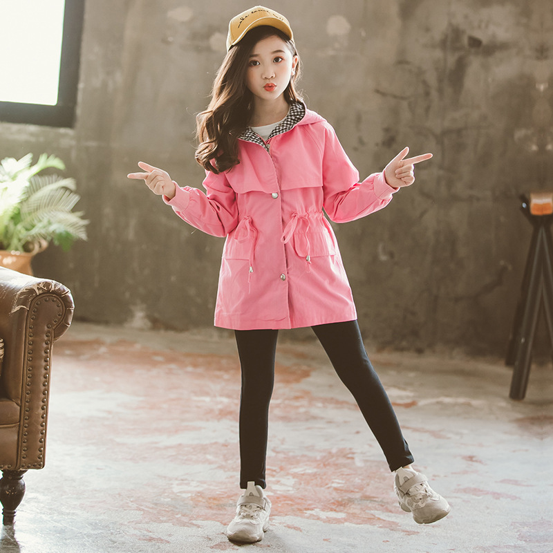 Teenager Spring Autumn Girls Trench Coat 2019 New Hooded Jacket 10 12 years Kids School Girl Clothing Children Leisure Outerwear in Jackets Coats from Mother Kids