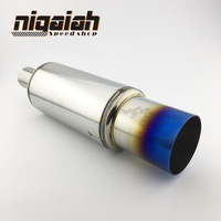Inlet 51 63mm Inlet Universal 304 Stainless Steel Burned Blue Silencer Exhaust Pipe Car Muffler