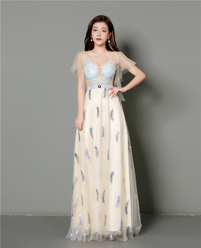 high quality feather embroidery dress Sexy V Neck sweet Long Evening Dress Elegant  Evening Gowns with  Abendkleid
