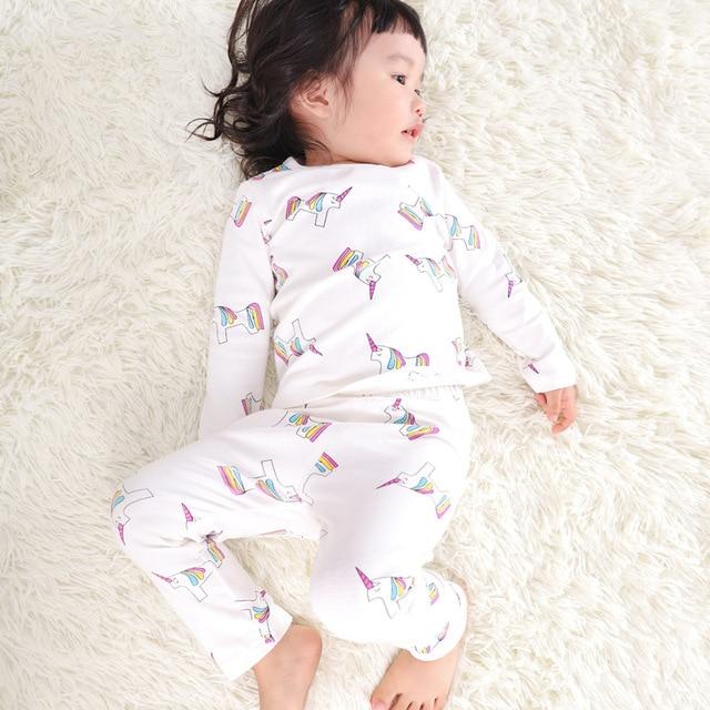 Children s Pajamas Clothing Sets Girls Rainbow Unicorn Print 2 Piece Set  Toddler Girl 100% Cotton 2b83076e5