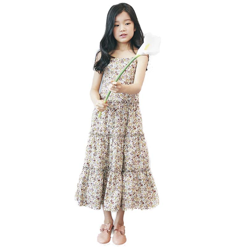 1 Piece Children Dresses Girls Spring Girls Dress Floral Children Sleeveless Clothes Wedding Party Kids Dresses Clothing Girl