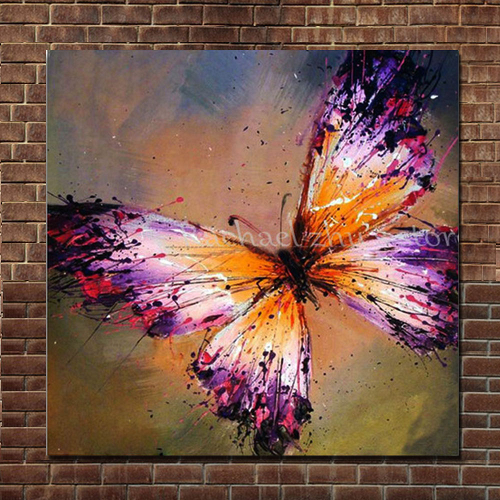 Hand Painted Abstract Purple Butterfly Oil Painting On ...