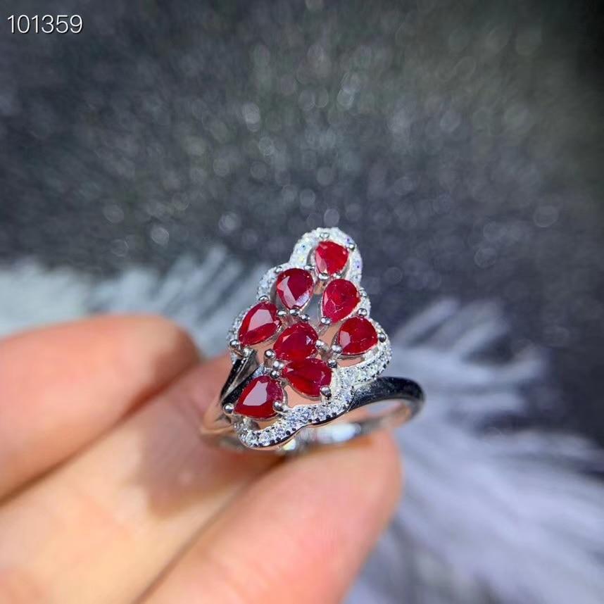 Mode feuille ventilateur plume naturel rouge rubis gemme anneau S925 argent naturel pierre gemme anneau fille femmes mariage fête cadeau bijoux fins