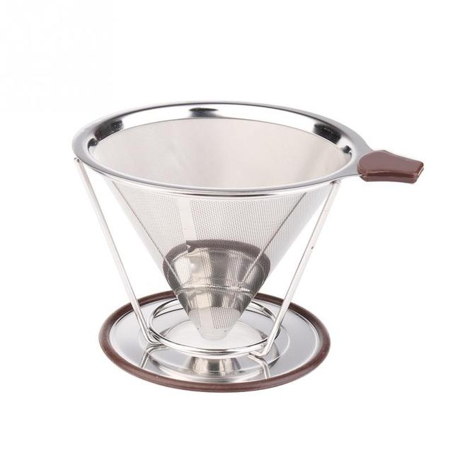 Useful Stainless Steel Coffee Filter Paperless Pour Over Dripper Reusable Microfilter Cone Kettle Mesh
