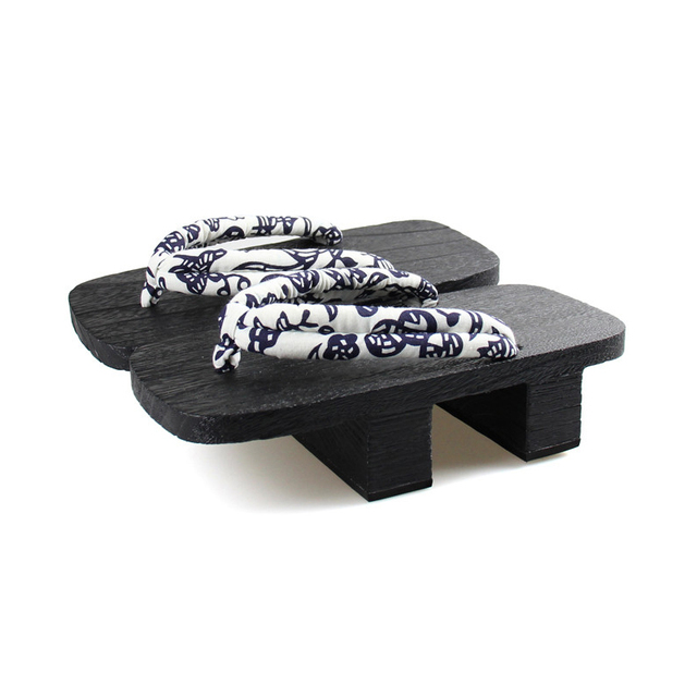 Hombres Doble Tacones Negro Clásica De Madera Geta, Zapatos de Cosplay de Los Hombres Flip Flop Sandalias Casuales