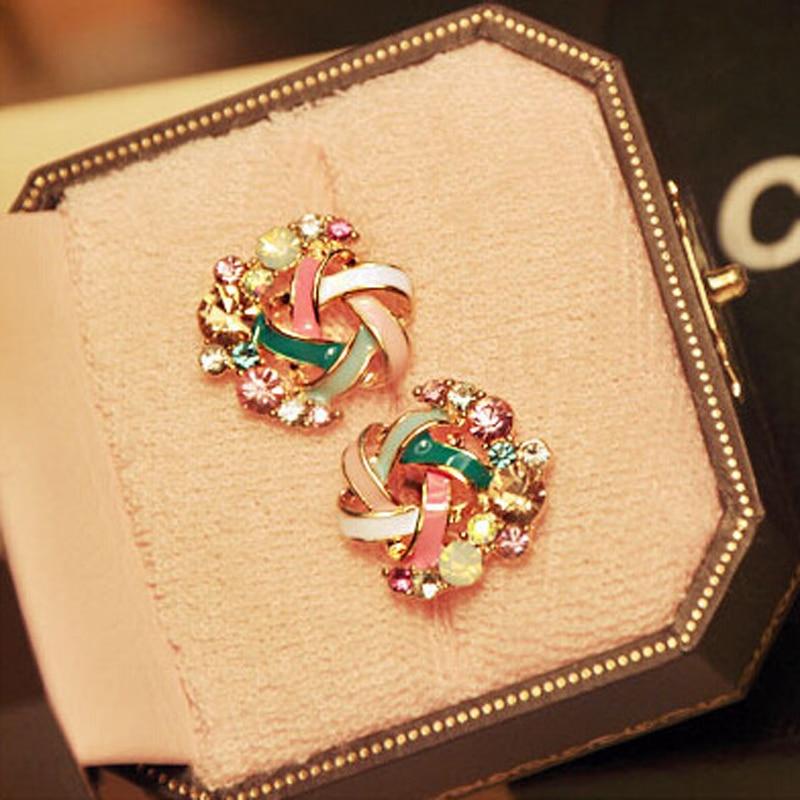Hot Elegant Women Jewelry Fair Maiden Temperament Set Auger Drill Windmill Stud Earrings Gift