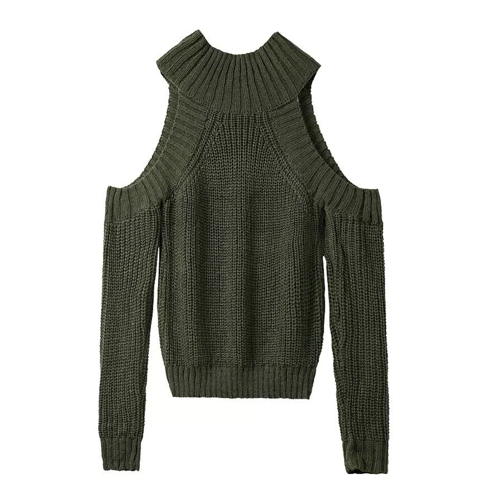 Casual Loose O-Neck Off-the-shoulder Long-sleeved Knitted Pullover Sweater Women Autumn Winter Solid Color Fashion Lady Coat