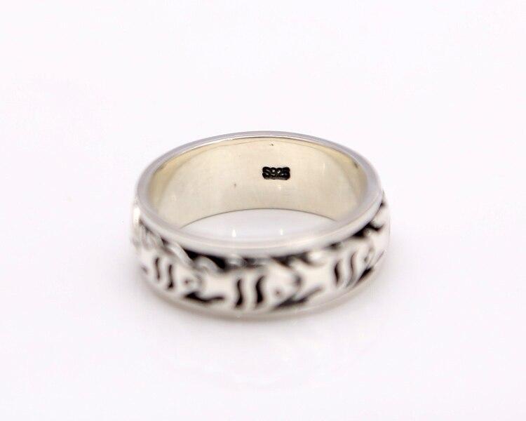 Одноцветное Серебро 925 вращающийся spinner кольцо Для мужчин рыбы центр Band Real 925 серебро Материал Craft Для мужчин украшения Lucky группа подарок