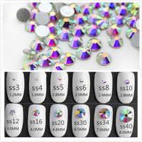 Super Glitter ss3-ss50 Kristall AB Flache Rückseite Nicht HotFix nail art Strass 3D Glas Nagel Kunst Dekorationen Bekleidungs Mix Strass