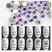 Супер Блестящий ss3-ss50 кристалл AB плоская задняя часть не горячей фиксации дизайн ногтей Стразы 3D стекло дизайн ногтей украшения Одежда смесь стразов