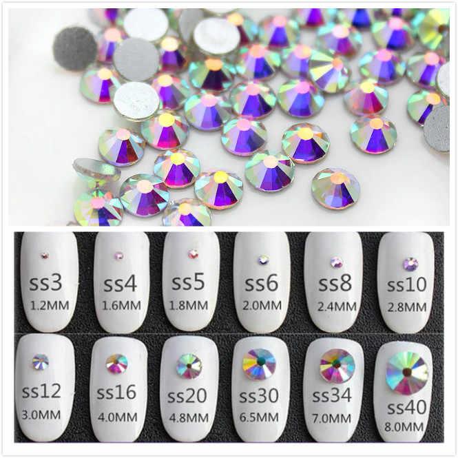 Super Glitter Ss3-ss50 คริสตัลABแบนNon HotFix Nail Art Rhinestone 3Dแก้วเล็บตกแต่งเสื้อผ้าผสมRhinestone