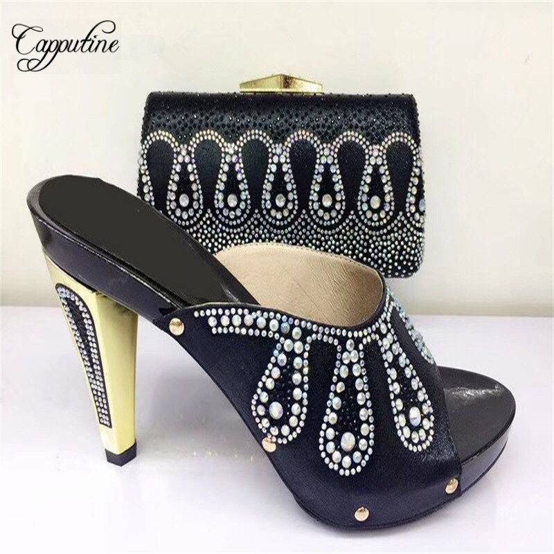 Capputine African Style Rhinestone Woman Shoes And Bag Set Summer High Heels Shoes And Matching Bag Set For Party Size 37-43 capputine new summer sandals woman shoes 2017 fashion african casual sandals for ladies free shipping size 37 43 abs1115