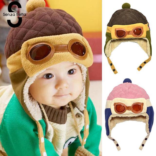1d5f47d74e3 Senza Fretta Toddler Cool Boy Girl Kids Infant Winter Pilot Aviator Warm  Cap Beanie Baby Protection Ear Winter Warm Pilot Hat