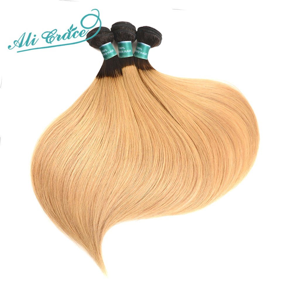 ALI GRACE Hair Brazilian 1 27 Straight Human Hair 3 Bundles Hair Extentions Ombre Color 10