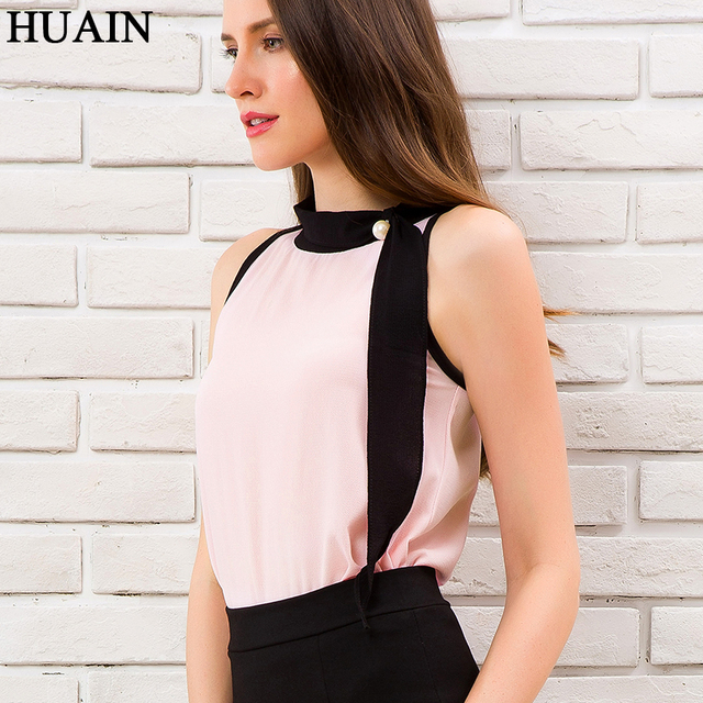 c98f4b906bb6b Women Blouse Summer 2018 Elegant Halter Neck Bead Pearl Womens Tops And Blouses  Sleeveless Shirt Female Korean Fashion Clothing