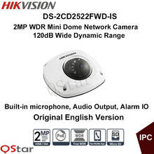 Hikvision Original English Version DS-2CD2522FWD-IS Surveillance CCTV Camera 2MP IR Mini Dome POE Audio IP Camera Full HD1080P
