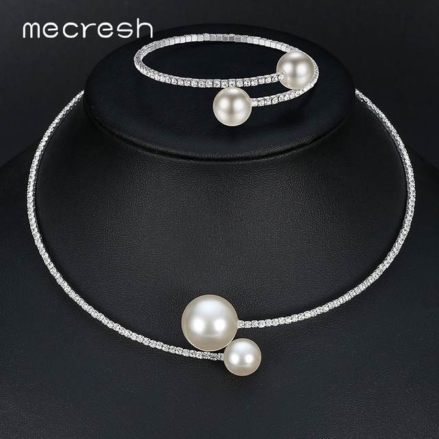 Mecresh Simple Simulated Pearl Bridal Jewelry Sets