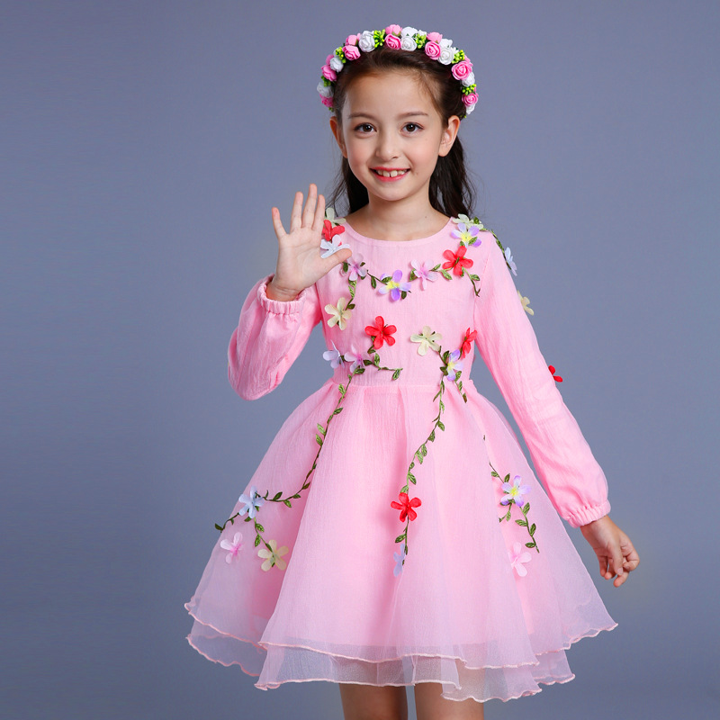 Girls Clothes for Kids Princess Dresses 2017 Brand Summer Autumn Winter Girl Dress with 3D Flower Ball Gown Birthday party 6-14T kids tutu dress girl flower dress 2016 summer girls party dresses with gloves fashion dance dress kids girls clothes ball gown