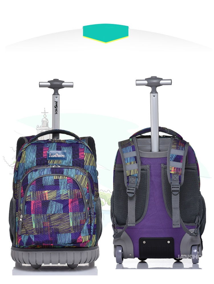 0af23783eeba Bohemian Lightweight Wheeled Trolley Backpack Straps Cabin Bag Travel  Luggage Backpack with Wheels Rolling