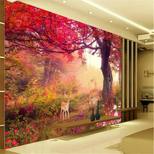 beibehang Large custom wallpaper autumn leaves deer 3D TV be