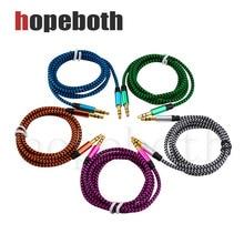 Unids/lote de cables de Audio de 100mm macho a macho, Cable auxiliar de Audio de tela de nailon para iPhone, auriculares de coche, Línea alámbrica, Cable auxiliar