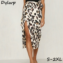 Women Chiffon Leopard Print Long Boho Skirt 2019 Summer Casual Ladies High Waisted Maxi Skirts Fashion Lace Up Split Skirts grey lace up design high waisted skirts