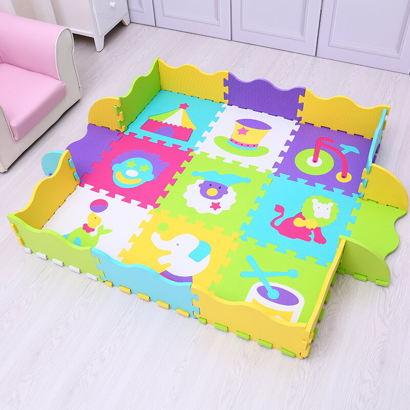 animals numbers pattern EVA baby play mat 9pcs foam puzzle game cushion for kids gym bab ...