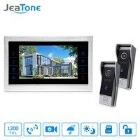 JeaTone NEW 10 TFT Touch Button Video Doorphone Intercom Doorbell With 1200TVL COMS 2 Camera 1