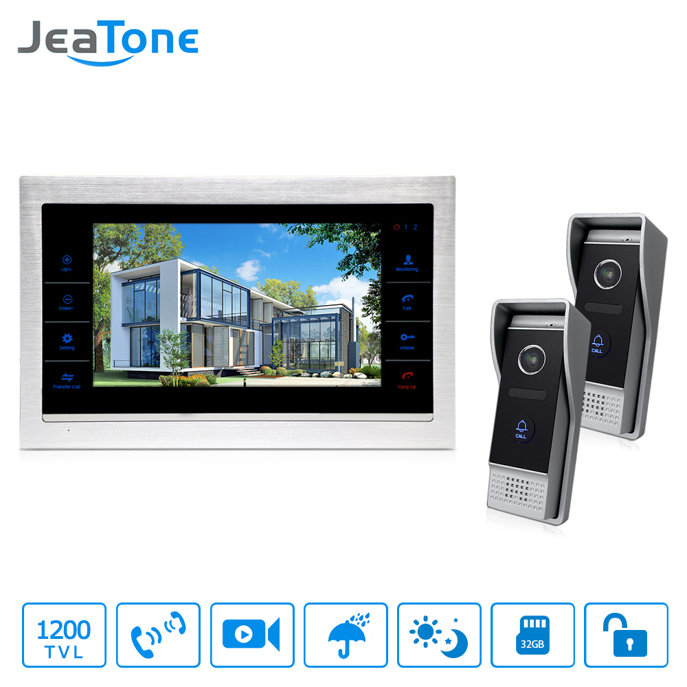 JeaTone NEW 10 TFT Touch Button Video doorphone intercom Doorbell With 1200TVL COMS 2 Camera+ 1 monitor For Home 7 inch video doorbell tft lcd hd screen wired video doorphone for villa one monitor with one metal outdoor unit night vision