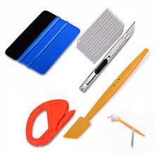 лучшая цена EHDIS Carbon Fiber Vinyl Film Magnet Squeegee Set Car Wrapping Tools Foil Wrap Cutter Knife Auto Car Sticker decals Applicator