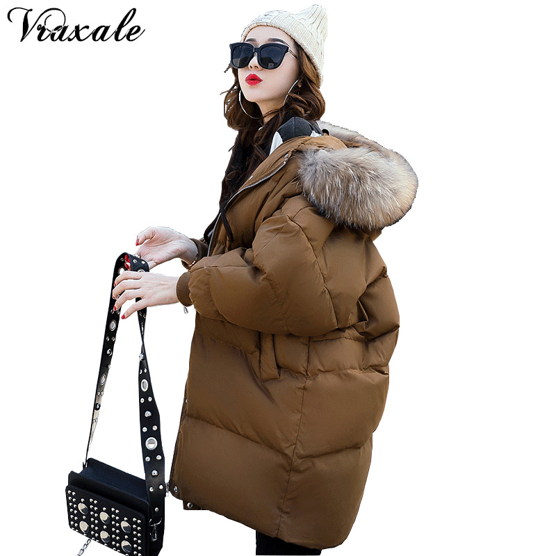 Vraxale Loose Casual Winter New Down Cotton Jacket 2017 Long Jacket Women's Large Fur Hooded Coat Warmed Parkas Outerwear winter new women loose coat fashion cute parkas hooded jacket overcoat long section casual down cotton large size coat cm1560