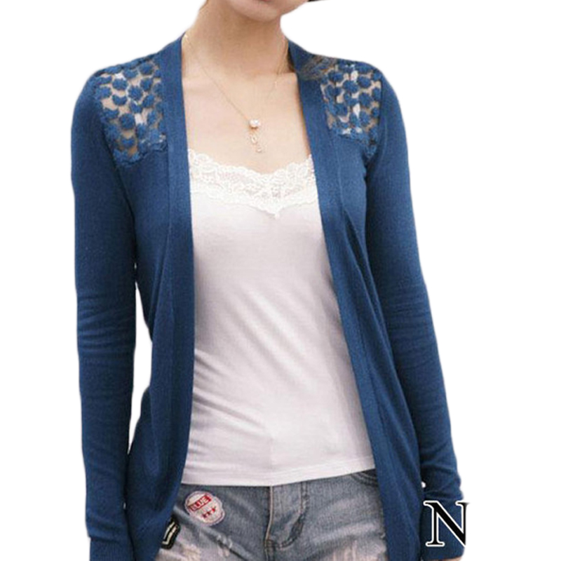 2755a6fbd8cdd Summer Lace Cardigan Women Blouse Candy Color Shirt Back Hollow out ...